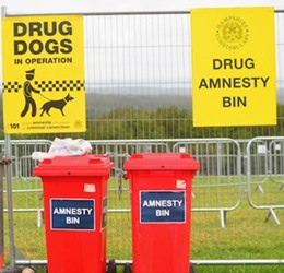 drug amnesty bins at festival site