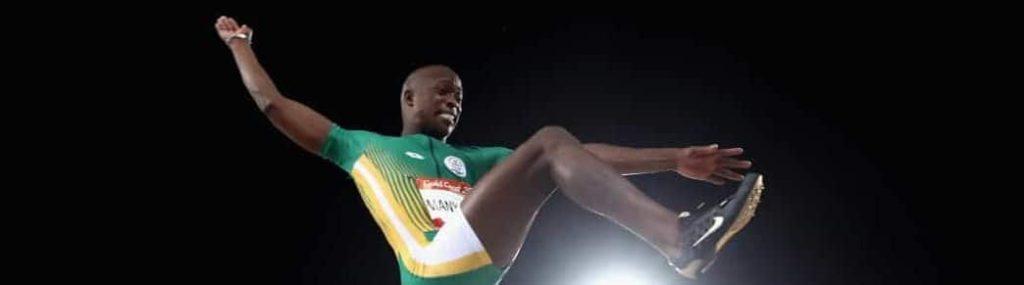 Luvo Manyonga long jumps
