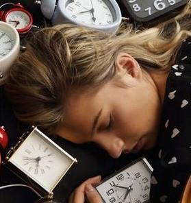 woman sleeping in clocks