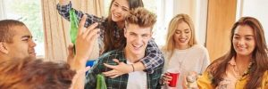 young people partying with alcohol